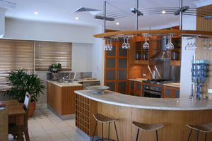 modern wood and stainless steel kitchen